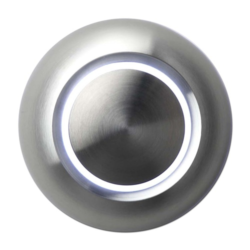 lighted doorbell, round, aluminum faceplate, white LED, wall-mounted